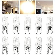 KINGSO 10 Pack Ampoule G9 40W Globe Lampe Halogène 220-230V Blanc Chaud