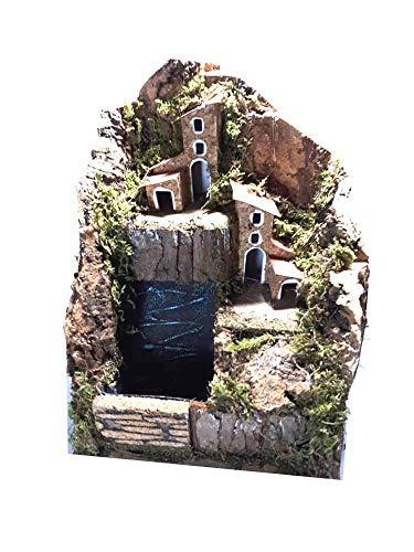Mini presepe completo 15x14 cm alto 20 cm con cascata acqua vera, senza luci sughero e legno napoletano per pastori da 3, 5 cm statuine presepe ricevi un portachiavi s.g. armeno artigianali mar