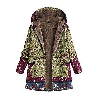 Kapuzenjacke Damen UFODB Frauen Winter Warme Leinen Nationaler Stil Printing Mode Freizeit Leinenjacke Hochwertig Weichem Slim Fit Sweatmantel Mantel