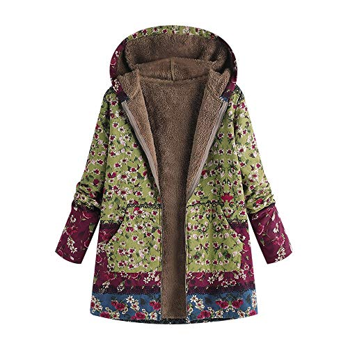 Linlink Warm Winterjacke, Printed Pockets Dicker Hasp Kapuzenmantel Damen Jacke Parka Outwear Strickjacke Mantel Plüschjacke Steppjacke Outwear Cardigan Parka Trench Coat Strickjacken
