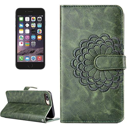 iPhone Case Cover Pour iPhone 6 & 6s Broderie motif de fleur Horizontale Flip étui en cuir avec Holder & Card Slots & Wallet & Photo Frame ( Color : Black ) Army green