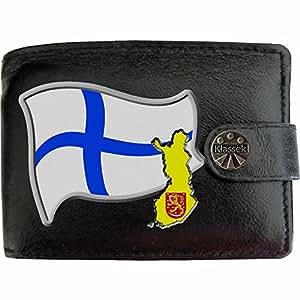 Finlande Drapeau Carte KLASSEK Portefeuille Homme Porte Monnaie. Finnois Armoiries Cuir Noir Véritable Suomen Tasavalta Cadeau Présente Avec Boîte en Métal