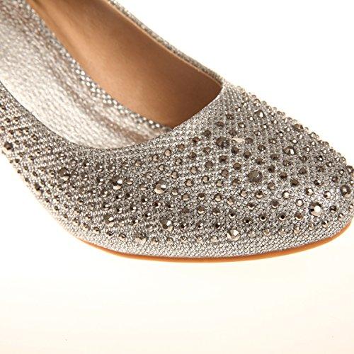 La Modeuse - Escarpin compensée en simili cuir et revêtement tissé de fils brillants etrecouvert de strass Argenté