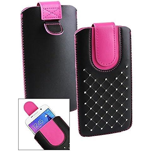 Emartbuy® Nero / Hot Rosa Gem Studded PU Pelle Custodia Case Cover Sleeve ( Misura LM2 ) con Linguetta Adatta Per Acer Liquid Jade S Smartphone