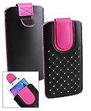 Emartbuy® Schwarz/Hot Rosa Edelsteinbesetzt PU Leder Slide in Hülle Tasche Sleeve Halter (Größe LM2) Mit Zuglasche Mechanismus Geeignet Für Slok C2 Dual SIM Smartphone
