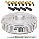 30m 130dB Koaxial Kabel HB-DIGITAL Set SAT-Kabel inkl. 8 F-Steckern vergoldet und 4 Schutztüllen, 30m Koaxkabel für Satellitenempfang, Schirmungsmaß 130dB, bester Empfang für HDTV, 3D, FullHD, Ultra HD, HD 4K2K, UHDTV