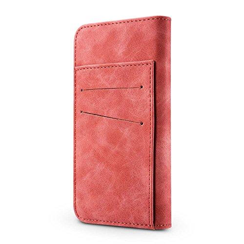Custodia iPhone 7, Custodia iPhone 8, [2 in 1] [Portafoglio Rimovibile] [Retro Premium Esterno PU Pelle e Apri Pelle Vero di Interno] Cover per Apple iPhone 8 (2017), Verde Scuro Rosso Rosa