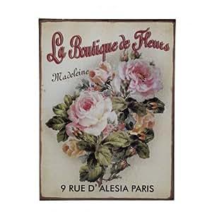 """Comptoir de Famille - Plaque publicitaire """"La boutique de fleurs"""""""