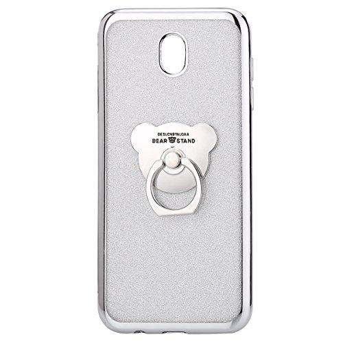 Uposao Kompatibel mit Samsung Galaxy J5 2017 J530 Silikon Hülle Bling Glitzer Strass Diamant TPU Silikon Schutzhülle mit Ringhalter Ständer Durchsichtige Hülle Dünn Transparent Handyhülle, Silber