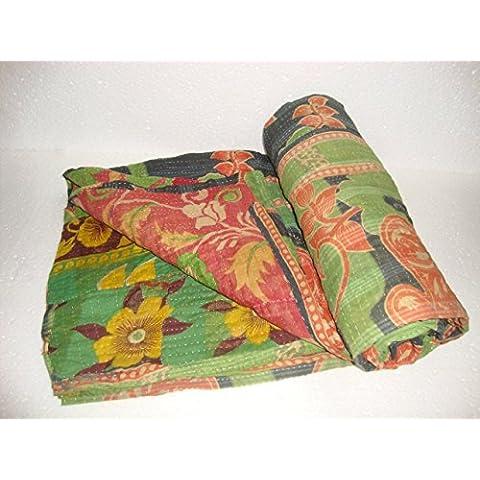 Vintage Kantha edredón manta de la India hecha a mano de flores colcha reversible algodón de tejido sari étnico bordado gudari ropa de cama manta q2196