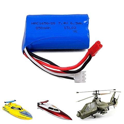 850mAh 7,4V Akku für RC Hubschrauber Comanche FX060 E1003, RC Boot FT007, WL911, Ersatzakku, Ersatzteil, Neu