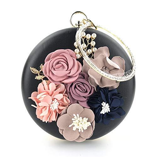 Bdpen pochette da donna,clutch - borsetta da pranzo borsa da pranzo fiore borsa da pranzo borsa da pranzo fiore stereo borsa da sera borsa da sera con strass nero
