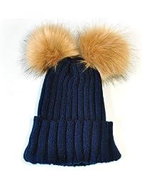 I LOVE DIY Bonnet Pompon Bebe Garcon Fille Chapeaux Tricoté Enfant Hiver  Mignons avec 2 Pompon b47440d97f1