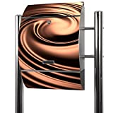 BANJADO Edelstahl Briefkasten groß, Standbriefkasten freistehend 126x53x17cm, Design Briefkasten mit Zeitungsfach Motiv Brown Swirl