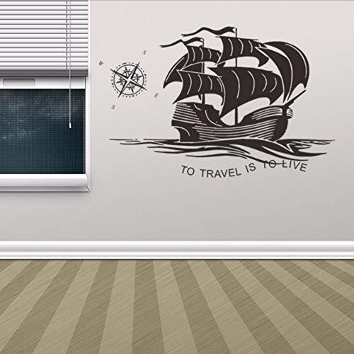 Wsxxnhh Europäischen Stil Vinyl Aufkleber Aufkleber Segeln Anker Schiff 3D Wandaufkleber Steuern Dekor Wohnzimmer