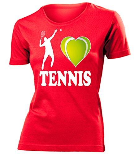 Sport - I Love Tennis - Cooles Fun T-Shirt Donna Maglietta Taglia S to XXL vari colori Rosso