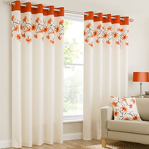 Plain faux silk look eyelet ring top orange cream brown fully lined curtains lily flowers floral leaves 46×72 inches 117cmx183cm drop eyelet ring top ready made