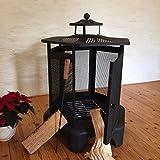 Antikas - Kaminofen Sechseck Ofen aus Stahl Terrassenofen - Gartenkamin mit Grill Feuer