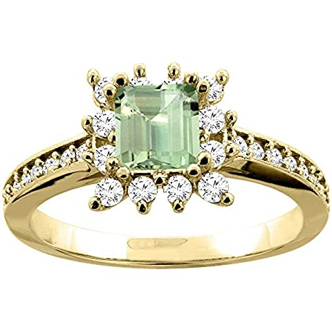 In oro giallo 14 k con ametista verde e diamanti Accents-Anello di fidanzamento, 5 mm, taglie J-T