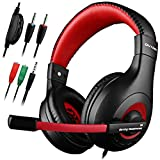 Gaming Headset DLAND 3.5mm Wired Bass Stereo Noise Isolation Gaming Headphones with Mic for Laptop Computer Cellphone PS4 and so on- Volume Control Black and Blue X4 Black and Red