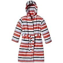 Sanetta - Albornoz a rayas con capucha de manga larga para niña