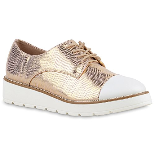 Damen Halbschuhe Lack Glitzer Brogues Dandy Schuhe Profilsohle Rose Gold Metallic Weiss