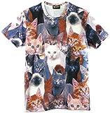 Pizoff Unisex Digital Print Schmale Passform T Shirts mit Katzen Cat 3D Muster