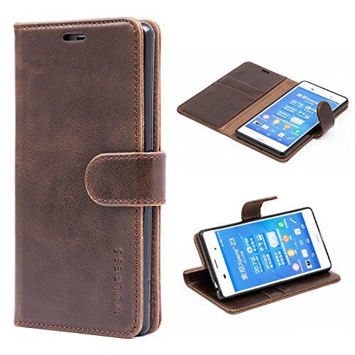 Mulbess Handyhülle für Sony Xperia Z3 Hülle, Leder Flip Case Schutzhülle für Sony Z3 Tasche, Vintage Braun