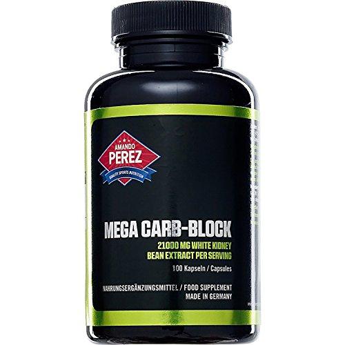Mega Carb Blocker - 21000 mg - White Kidney Bean (Weißes Kidneybohnen-Extrakt (Phaseolus vulgaris)) und Fenugreek - 100 Kapseln - Gigantische 22050 mg Hardcore Kohlenhydratblocker für fettfreie Muskelmasse in nur einer Tagesdosis von 3 Kapseln -