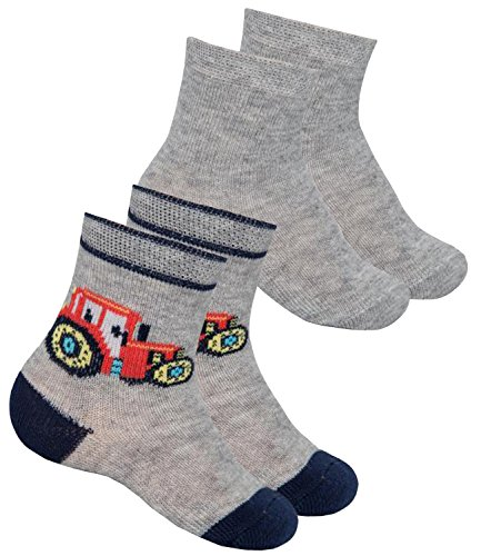 EveryKid Ewers 2er Pack Jungensöckchen Sparpack Sommersöckchen Söckchen Socken Strümpfe Kleinkind mit Traktor für Kinder (EW-205009-S17-JU1-001-27/30) in Grau, Größe 27/30 inkl - Jungen Unterwäsche Traktor