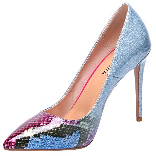 ZAPROMA Frau Schuhe High Heel Pump Slip-On Stiletto, Blau Glitter Python, 40 Python Slip-on