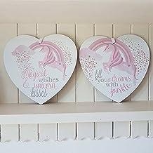 Set de 2mágico deseos y besos de unicornio llenar sus sueños arco iris brillante corazón placas