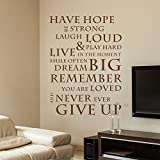 Have Hope Never Give Up Wall Decal Quote Vinyl Wall Text Aufkleber Kunst 39