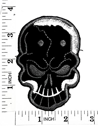 Black skull Bone Hardcore Rider Biker Motorcyle Patch Hand Embroidered Iron-on And Sew-on Symbol Jacket T-shirt Patches Applique Accessories
