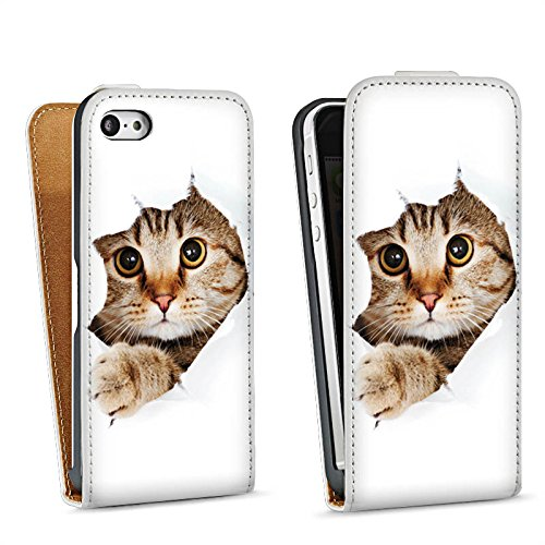 Apple iPhone 4 Housse Étui Silicone Coque Protection Chat Chat Kitten Sac Downflip blanc