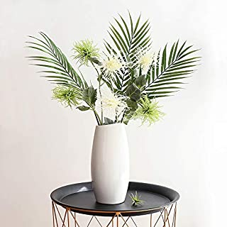 YILIYAJIA Artificial Plants and Greenery Ombre Kwai Leafs Branch Fake Palm Plants AWN Flowers for Wedding Arrangement Home Decoration Office (White&Green)