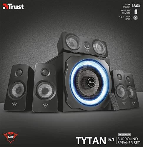 Trust Gaming GXT 658 Tytan 5.1 Surround Lautsprecher Set mit Fernbedienung (180 Watt, LED Beleuchtung) schwarz - 9