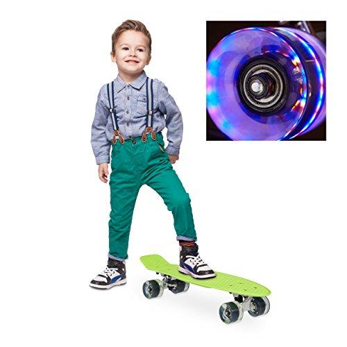 Relaxdays Skateboard LED für Kinder, 22 Zoll Mini Cruiser mit Leuchtrollen, ABEC 7 Alu-Trucks mit Gummi Wheels, Grün