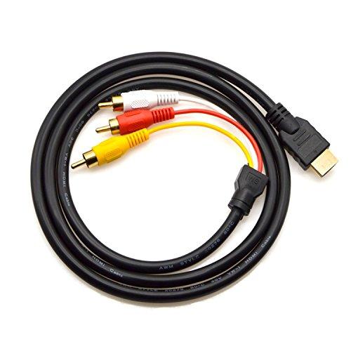 Baihuigou HDMI zu RCA Kabel, HDMI Stecker zu 3RCA AV Composite Stecker M/M Stecker Adapterkabel Kabel Sender (Kein Signal UMKEHRFUNKTION), Einwegübertragung von HDMI zu RCA - 5ft / 1.5m Schwarz (Männlich 4 Cinch-zu-1 6)