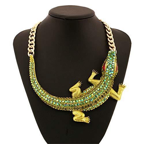 Alligator-kragen (Damen Halskette Statement-Kette, Frauen übertrieben Mode Krokodil Alligator Anhänger Bib Anweisung Vintage Choker Halskette Kragen Schmuck Geschenk grün Sommer Trend Modeschmuck Choker Halsketten)