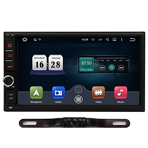 NAVISKAUTO HD 7`` Lollipop Android Car Radio Double Din Stereo in Dash Touchscreen Quad-Core GPS Sat Nav Support DAB Wifi Bluetooth/RDS/SD/USB/Subwoofer/OBD2/Apple Play Mirrorlink (IR Camera Included)