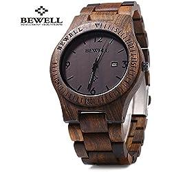 Bewell ZS - W086B Herrenuhr,Männeruhr,Holz Bangle Quarz Uhr mit Kalender Anzeige,Armbanduhr für Mann,Natürliche Holz Hölzerne Uhr,Japanisches Quarzwerk Zeiger(EBENHOLZ HOLZ)