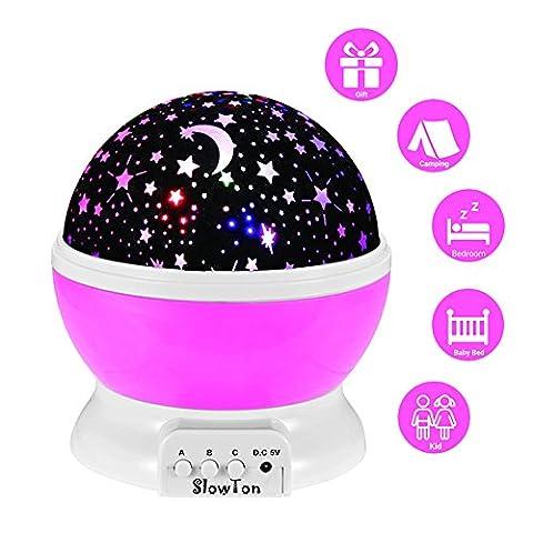 Starry Nacht Licht Lampe, slowton Romantische 3 Modi Colorful LED Moon Sky Star Dreamer Schreibtisch drehbar Cosmos Starlight Projektion für Kinder Kids Baby Schlafzimmer [Energieeffizienzklasse A + + +]