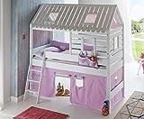 Froschkönig24 Hochbett Tom´s Hütte 2 Kinderbett Spielbett Bett Weiß Stoffset Lila/Weiß, Matratze:mit