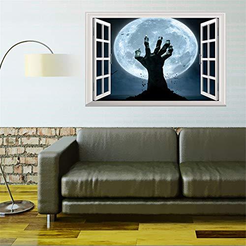 teransicht gefälschte Fenster Wandaufkleber Landschaft Halloween Zombie Hand Festival Diy Wohnzimmer Poster Wandbild Wohnkultur Kinderzimmer ()