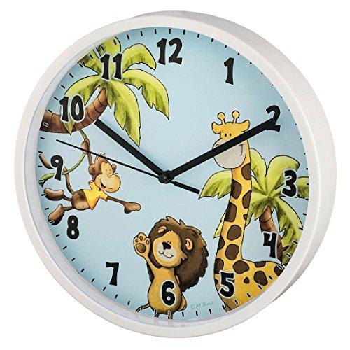 """Hama Kinder Wanduhr ohne Ticken """"Safari"""" (analoge Uhr, großes Ziffernblatt mit Ø 22,5 cm, geräuscharm, mit Tier-Motiv, z.B. für's Kinderzimmer) Kinderwanduhr hell-blau 2"""