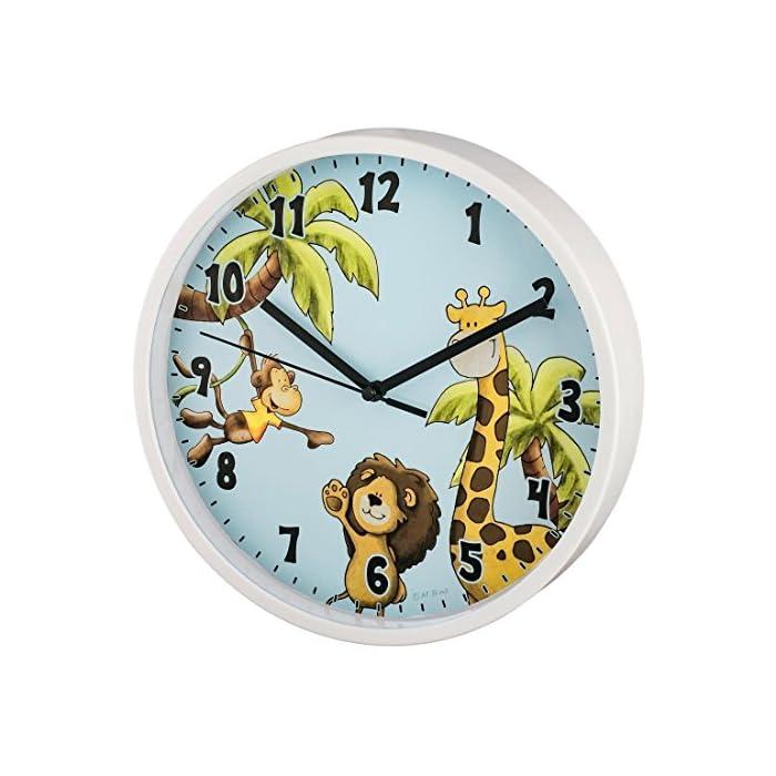 Hama Kinder Wanduhr ohne TickenSafari (analoge Uhr, großes Ziffernblatt mit Ø 22,5 cm, geräuscharm, mit Tier-Motiv, z.B…