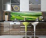 Küchenrückwand Grüne Toskana Nischenrückwand Spritzschutz Design M0512 240 x 60cm (B x H) - Acrylglas 3mm Rückwand Küche Fotorückwand Küchenbild Bild Foto Motiv Herd Fliesenspiegel Ersatz