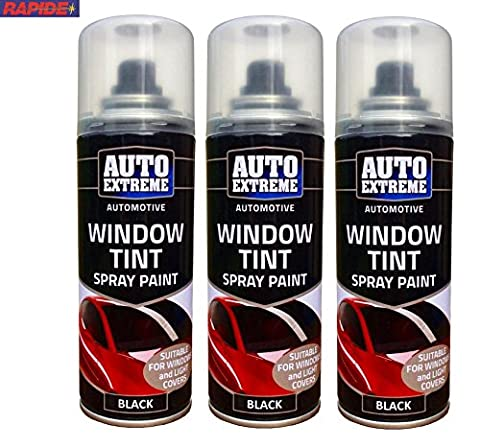 3 x Automotive Window Car Glass Light Cover Tint Spray Black Paint 200ml Spray