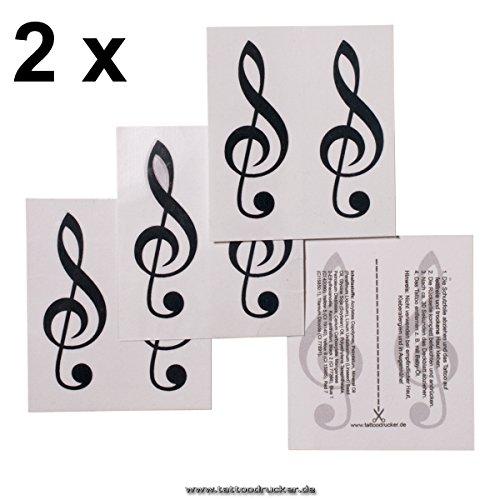 (4 x Violin Schlüssel Tattoo - schwarzer Notenschlüssel als Tattoo (4))